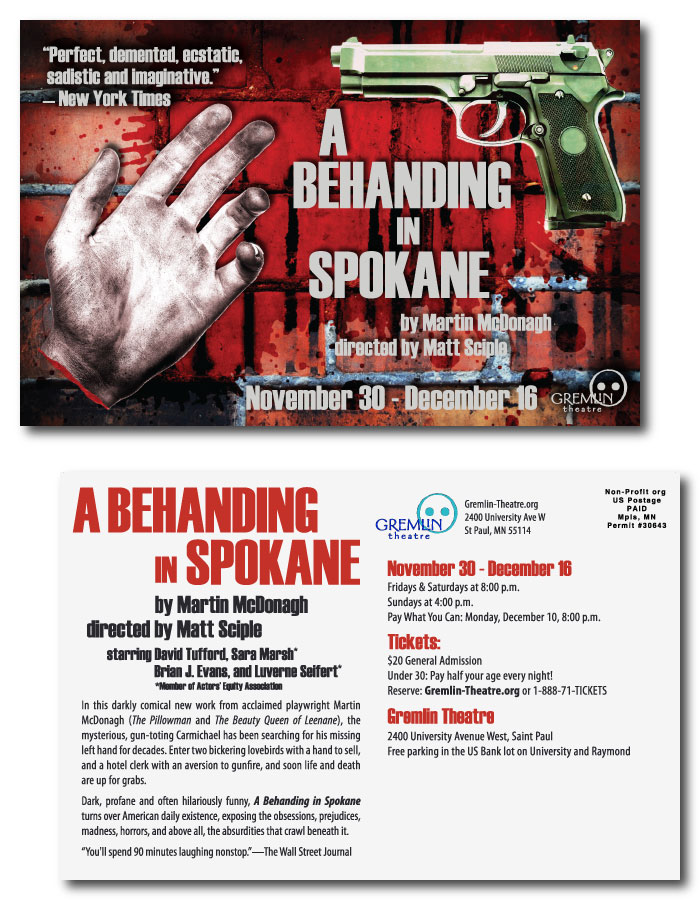 Postcard design for A BEHANDING IN SPOKANE