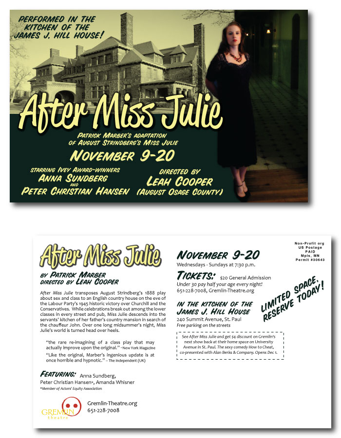 Postcard design for AFTER MISS JULIE